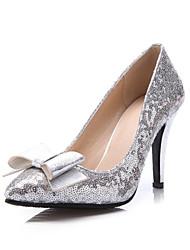 Women's Shoes Stiletto Heel Heels/Pointed Toe Pumps/Heels Wedding/Party & Evening/Dress Black/Silver