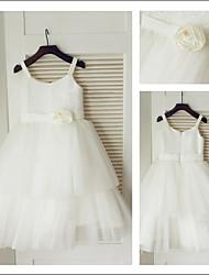 Vestido de niña de las flores Corte A - Tirantes Espaguetis - Hasta la Tibia ( Tul/Con lentejuelas )