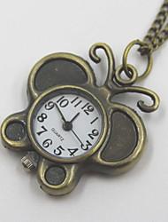borboleta requintado relógio de bolso em forma de colar camisola