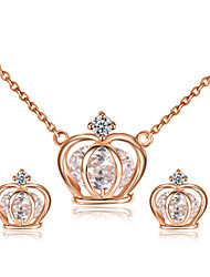 T&C Women's Exquisite 18K Rose Gold Plated Simulated Diamond Princess Crown Pendant Necklaces Earrings Jewelry Sets
