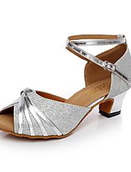 Women's Dance Shoes Latin/Salsa Leatherette Cuban Heel Black/Silver