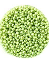 beadia 58g perles de nacre (environ 2000pcs) 4mm abs rond léger perles en plastique de couleur verte