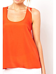 Women's Black/Orange Blouse Sleeveless