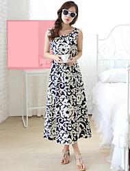 Women's Beach/Casual/Print/Elegant Work Inelastic Sleeveless Midi Dress (Cotton)