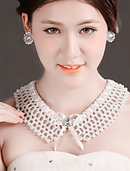Bride Wedding White Hollow Diamond Noble Flower Earring Necklace Set
