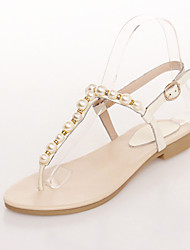 Women's Shoes Leather Flat Heel Toe Ring Sandals Outdoor/Office & Career/Dress/Casual Yellow/White