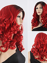 Popular Color Red Hair Wigs Hair Wave Synthetic Hair Wigs