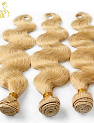 "3Pcs Lot 14-30"" Platinum Bleach Blonde 613 Virgin Hair Bundles Indian Body Wave Remy Human Hair Weaves Wavy Machine Weft"