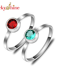 Lucky Shine Women's Kid's Men's Unisex Silver Unique Rings With Gemstone Fire Red Green Quartz Crystal Holiday Gift