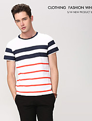 Men's Formal/Sport Plaids & Checks/Pure Short Sleeve Regular T-Shirt (Cashmere/Cotton/Knitwear/Lycra/Wool/Wool Blend)