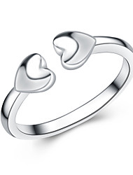 Jazlyn Authentic Platinum Plated 925 Sterling Silver Heart to Heart Adjustable Engagement Couples Ring