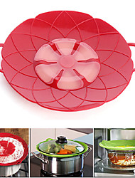 Silicone Lid Spill Stopper Pot Cover for Pan Pot Flower Shape Cooking Tools for 10.2inch Red Color