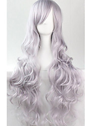 Cos Anime Bright Colored Wigs Smoke Grey Curly Hair Wig 80 cm