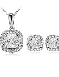 HKTC Classic 18k White Gold Plated Princess Cut Square Cubic Zirconia Pendant Necklace and Earrings Set