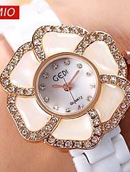 GEDI®Flower Rhinestone Rose Gold Fashion Watches Women Brand White Genuine Ceramic Band Dress Watches Quartz Wristwatch Cool Watches Unique Watches