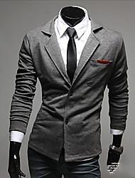 Blazer De los hombres Un Color Casual / Formal-Mezcla de Algodón-Manga Larga-Negro