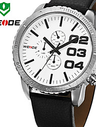 Men's Wrist watch Japanese Quartz Water Resistant / Water Proof Leather Band Black Brand WEIDE