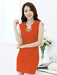 Women's Casual Party Micro Elastic Sleeveless Above Knee Dress (Others)