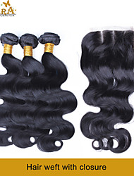 """10""""-26"""" Burmese Virgin Hair Body Wave Human Hair Weft With Lace Closure Color Natural Black Free Middle 3 Parts"""