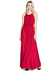 Women's Sexy Party Maxi Inelastic Sleeveless  Dress (Satin)