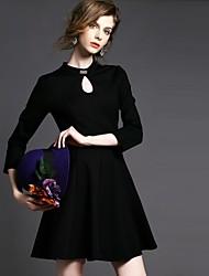 De las mujeres Vestido Mini Escote Chino - Acrílico - Manga Larga