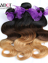 3 Pcs Lot 14-28 Ombre Cambodian Virgin Hair Extensions Body Wave Three Tone Black Brown Blonde 1B/4/27# Human Hair Weave