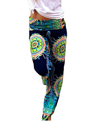 Women's Boho Casual Micro Elastic Medium Straight Pants (Cotton)