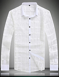 Men's Plaids / Solid Casual / Work / Formal / Plus Sizes Shirt,Lace Long Sleeve White
