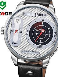 WEIDE Men Military Sports Luxury Oversized Dual Time Zones Genuine Leather Strap Quartz Watch
