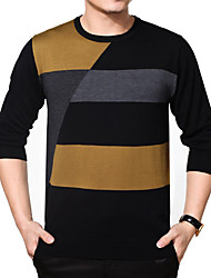 Men's Casual/Work/Formal Striped/Plaids & Checks Long Sleeve Regular Shirt (Acrylic/Lycra/Polyester)