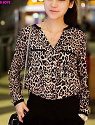 FOREVER LOVE®Women's V-neck Leopard Print Chiffon Long Sleeve Shirt Tops