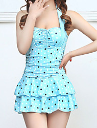 Women's Fashion Halter Style Dot Pattern Slim Swimsuit