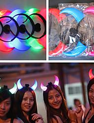 en forme de corne de mariage décor multicolore diable cerceau de cheveux lumineux (couleur aléatoire)