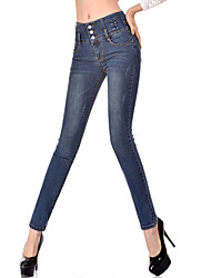AIMENGYA®Women's Casual/Bodycon/Sexy High Waist Thin Stretchy Long Jeans (Cotton/Denim /Elastic)