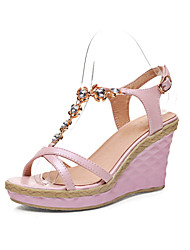Women's Shoes Faux Leather/Glitter/Leatherette/Rubber Wedge Heel Wedges/Open Toe SandalsOutdoor/Office & Career/Party