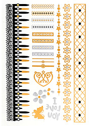 4PCS Flash Tattoo Gold Tattoo Taty Metallic Tattoo Tatouage Temporary Tattoo Sticker Metal Tatoo Fake Tatto