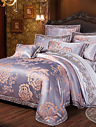 Shuian® Luxury Jacquard Silk Cotton Blend 4pcs Duvet Cover Bed Sheet Pillowcase Bed Linen