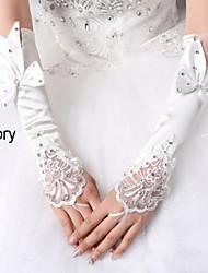 Wrist Length Fingerless Glove Elastic Satin Winter Gloves/Bridal Gloves