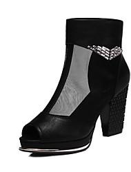 Women's Shoes Leatherette Chunky Heel Heels Sandals Dress Black/Beige