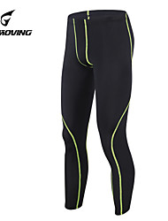 GETMOVING   Men's 200G Anti-Microbial Superfine Spandex Long Leggings with Black / Green     Line Pattern
