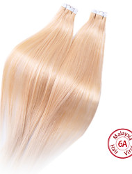 evet malaysisches reines Haar 6a Grad PU-Klebeband-Menschenhaarverlängerungen malysian reales Menschenhaar 100g / lot Großhandel