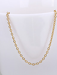 Fashion Rolo Shape Rose Gold Plated Alloy Thin Chain Necklace(Gold,Rose Gold,White Gold)(1Pc)
