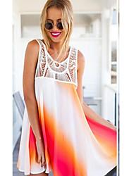 Defania Women's Sexy/Beach/Casual Long Sleeve Dresses (Chiffon)