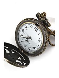 forma clásica ronda cuarzo una marca piece Collar de la cáscara metálica hueca restaurar reloj antiguo collar (bronce) (1pc)