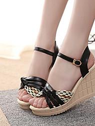 Women's Shoes Black/Blue/Pink Wedge Heel Pumps/Heels (Rubber)