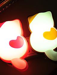 Cartoon Cat Shaped LED Night Light Lamp with Sensor (Random Color)