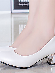 Women's Shoes Chunky Heel Pointed Toe Pumps/ Dress Black/Pink/White/Silver