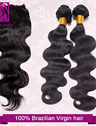 Trame cheveux avec fermeture Cheveux Brésiliens Ondulation naturelle 4 Pièces tissages de cheveux
