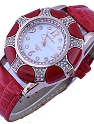Women's Diamante Round Dial PU Band Quartz Analog Fashion Watch Cool Watches Unique Watches