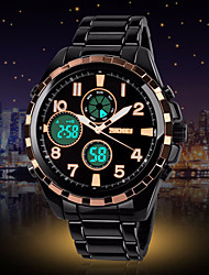 Skmei Men's Watch Number and Strips Marks with Round Dial  Watchband Full Stainless Steel Business Watch
